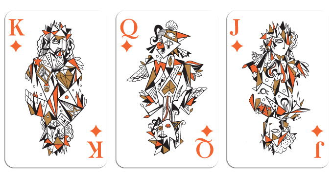 Stunning custom illustrations grace the backs of the cards, like these ...