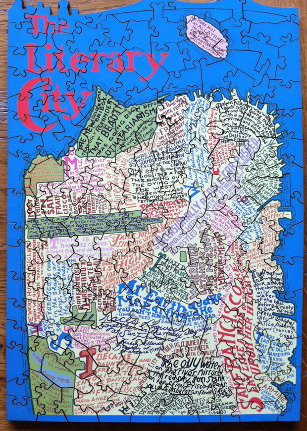 A Typographic Literary Map of San Francisco in a Puzzle  Brain