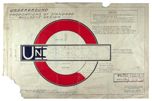 1925: Edward Johnston's instructions for the correct proportions of the redesigned Underground bullseye to incorporate the new typeface  Image courtesy London Transport Museum