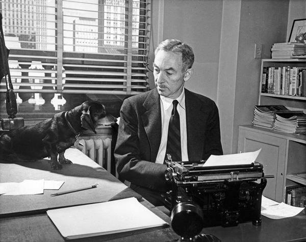 E B  White with his dog Minnie E B White Dachshund Poem